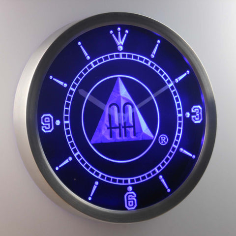 Image of Alcoholics Anonymous AA LED Neon Wall Clock - Blue - SafeSpecial