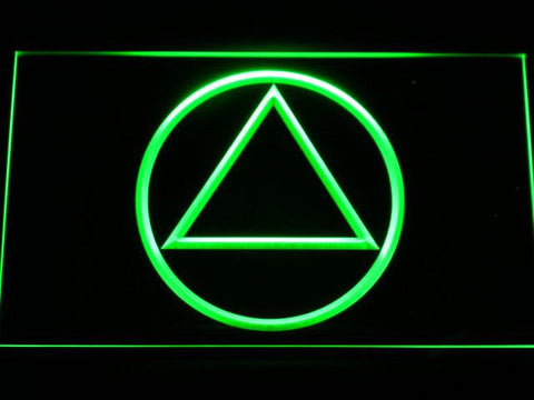 Image of Alcoholics Anonymous LED Neon Sign - Green - SafeSpecial