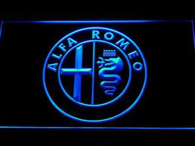 Alfa Romeo LED Neon Sign - Blue - SafeSpecial