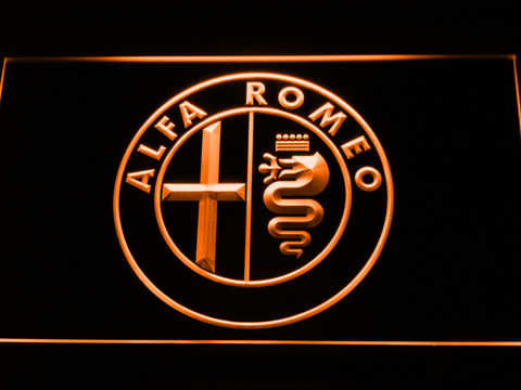 Image of Alfa Romeo LED Neon Sign - Orange - SafeSpecial