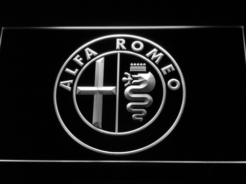 Image of Alfa Romeo LED Neon Sign - White - SafeSpecial