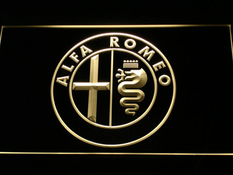 Alfa Romeo LED Neon Sign - Yellow - SafeSpecial