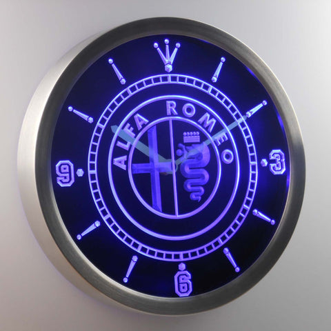 Image of Alfa Romeo LED Neon Wall Clock - Blue - SafeSpecial