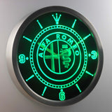Alfa Romeo LED Neon Wall Clock - Green - SafeSpecial