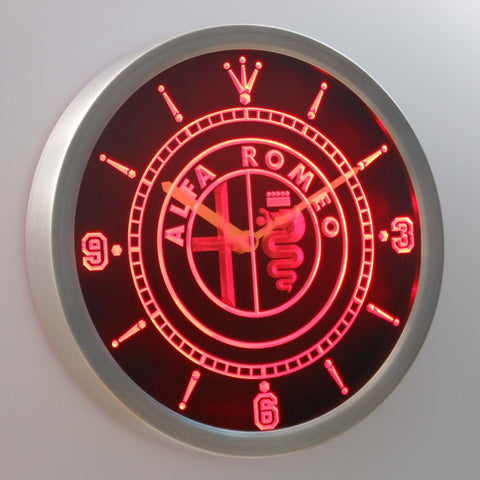 Alfa Romeo LED Neon Wall Clock - Red - SafeSpecial