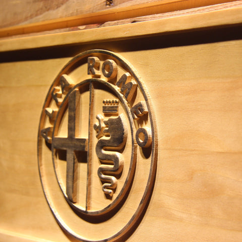 Alfa Romeo Wooden Sign - - SafeSpecial