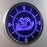 Alice in Wonderland Cheshire Cat LED Neon Wall Clock - Blue - SafeSpecial
