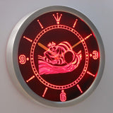 Alice in Wonderland Cheshire Cat LED Neon Wall Clock - Red - SafeSpecial