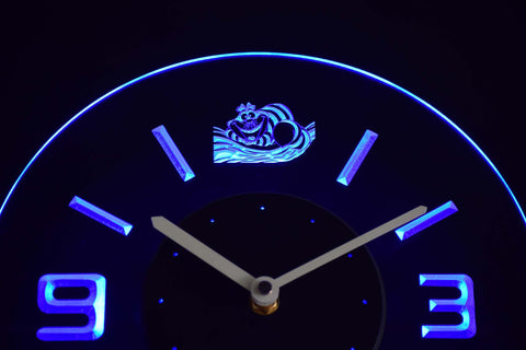 Image of Alice in Wonderland Cheshire Cat Modern LED Neon Wall Clock - Blue - SafeSpecial