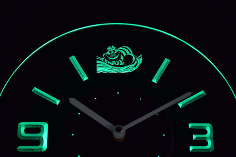 Image of Alice in Wonderland Cheshire Cat Modern LED Neon Wall Clock - Green - SafeSpecial