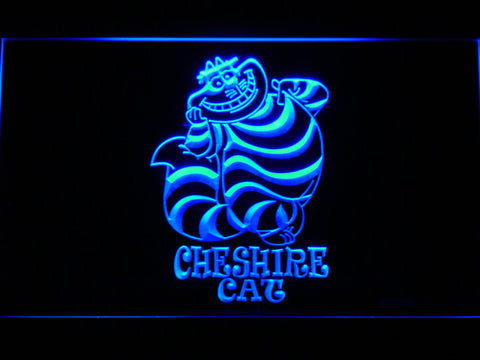 Image of Alice in Wonderland Cheshire Cat Standing LED Neon Sign - Blue - SafeSpecial