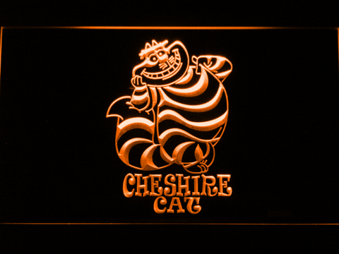 Image of Alice in Wonderland Cheshire Cat Standing LED Neon Sign - Orange - SafeSpecial