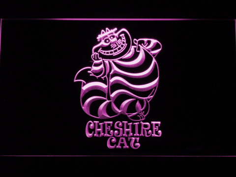 Image of Alice in Wonderland Cheshire Cat Standing LED Neon Sign - Purple - SafeSpecial