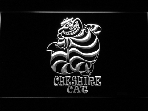 Image of Alice in Wonderland Cheshire Cat Standing LED Neon Sign - White - SafeSpecial