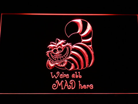 Alice in Wonderland Cheshire Cat We're All Mad Here LED Neon Sign - Red - SafeSpecial
