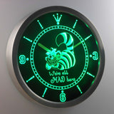 Alice in Wonderland Cheshire Cat We're All Mad Here LED Neon Wall Clock - Green - SafeSpecial