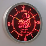 Alice in Wonderland Cheshire Cat We're All Mad Here LED Neon Wall Clock - Red - SafeSpecial