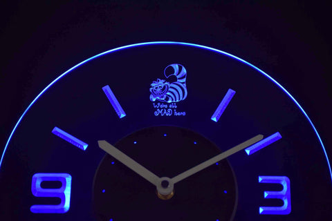 Alice in Wonderland Cheshire Cat We're All Mad Here Modern LED Neon Wall Clock - Blue - SafeSpecial
