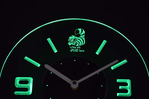 Alice in Wonderland Cheshire Cat We're All Mad Here Modern LED Neon Wall Clock - Green - SafeSpecial