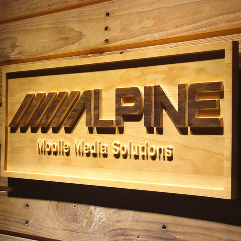 Image of Alpine Mobile Media Solutions Wooden Sign - - SafeSpecial
