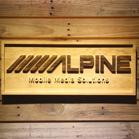 Image of Alpine Mobile Media Solutions Wooden Sign - Small - SafeSpecial