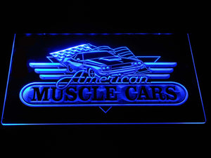 American Muscle Cars LED Neon Sign - Blue - SafeSpecial