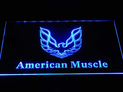 American Muscle Eagle Logo LED Neon Sign - Blue - SafeSpecial