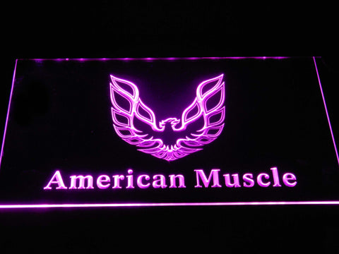 American Muscle Eagle Logo LED Neon Sign - Purple - SafeSpecial