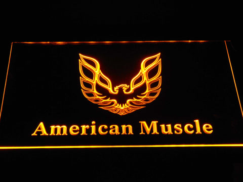 American Muscle Eagle Logo LED Neon Sign - Yellow - SafeSpecial