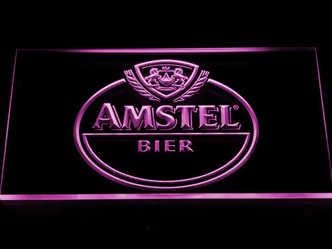 Amstel Bier LED Neon Sign - Purple - SafeSpecial