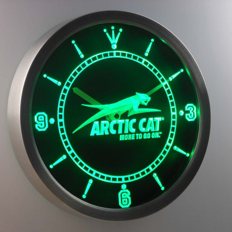 Image of Arctic Cat LED Neon Wall Clock - Green - SafeSpecial
