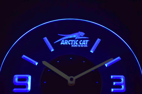 Arctic Cat Modern LED Neon Wall Clock - Blue - SafeSpecial