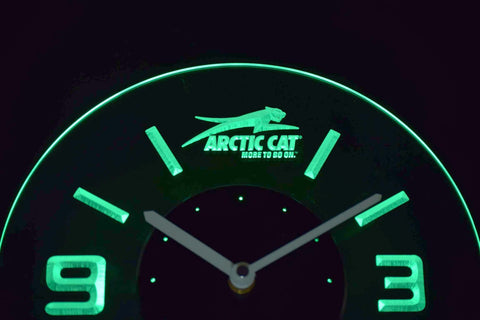 Arctic Cat Modern LED Neon Wall Clock - Green - SafeSpecial