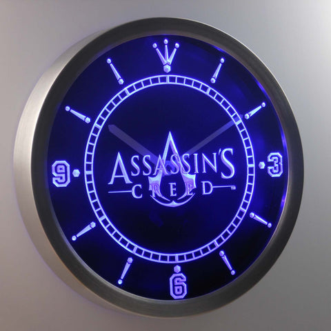 Image of Assassins Creed LED Neon Wall Clock - Blue - SafeSpecial