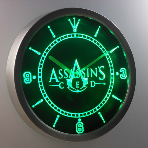 Image of Assassins Creed LED Neon Wall Clock - Green - SafeSpecial