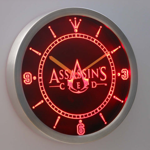 Image of Assassins Creed LED Neon Wall Clock - Red - SafeSpecial