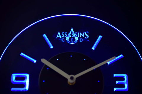 Assassins Creed Modern LED Neon Wall Clock - Blue - SafeSpecial
