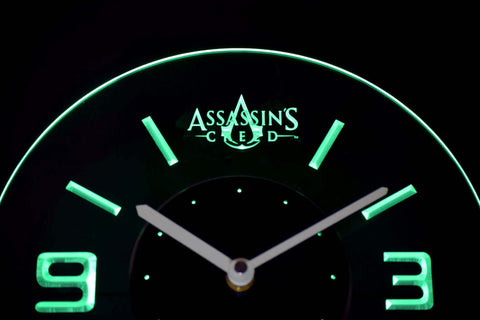 Assassins Creed Modern LED Neon Wall Clock - Green - SafeSpecial