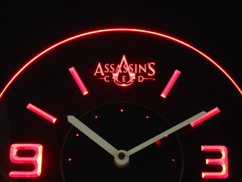 Assassins Creed Modern LED Neon Wall Clock - Red - SafeSpecial