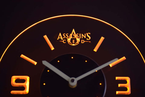 Assassins Creed Modern LED Neon Wall Clock - Yellow - SafeSpecial