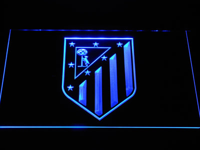 Atletico Madrid Crest LED Neon Sign - Blue - SafeSpecial