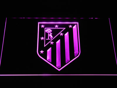 Atletico Madrid Crest LED Neon Sign - Purple - SafeSpecial