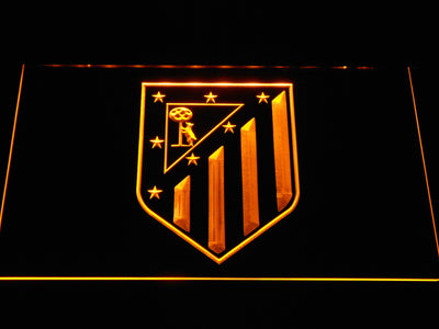 Atletico Madrid Crest LED Neon Sign - Yellow - SafeSpecial