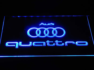 Audi Quattro LED Neon Sign - Blue - SafeSpecial