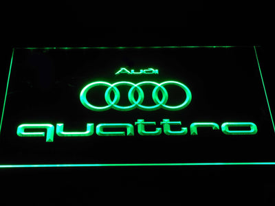 Audi Quattro LED Neon Sign - Green - SafeSpecial