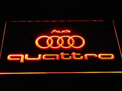 Audi Quattro LED Neon Sign - Orange - SafeSpecial