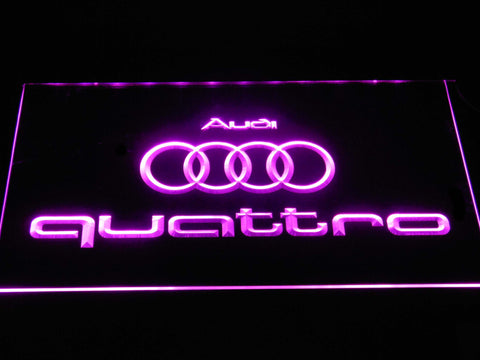 Image of Audi Quattro LED Neon Sign - Purple - SafeSpecial