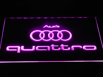 Audi Quattro LED Neon Sign - Purple - SafeSpecial
