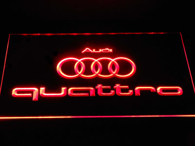 Audi Quattro LED Neon Sign - Red - SafeSpecial