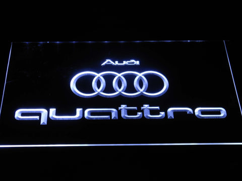 Image of Audi Quattro LED Neon Sign - White - SafeSpecial